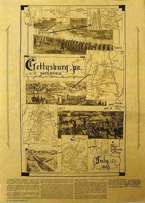 Denix DX82 Gettysburg Battlefield Map Poster