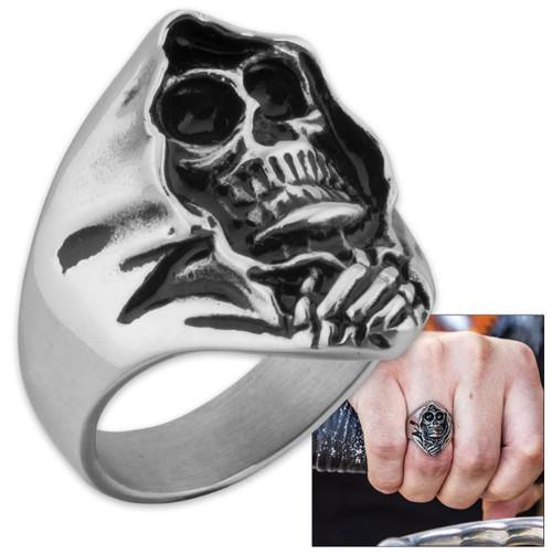 Grim Reaper Skull Men's Stainless Steel Ring - Size 9