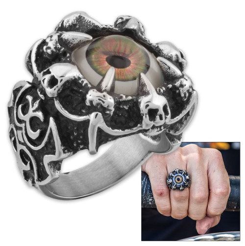 Oculus Men's Stainless Hazel Eye Ring - Size 9