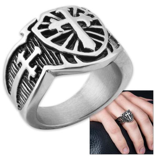Shield Cross Men's Stainless Steel Ring