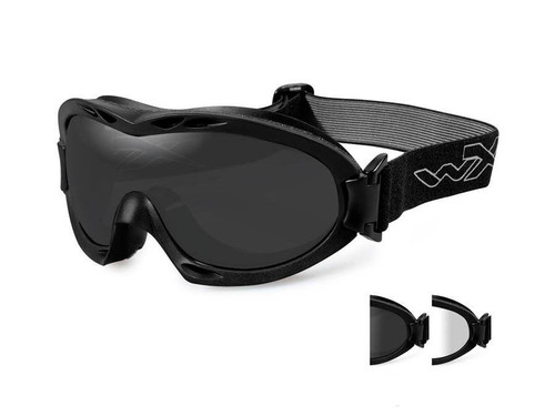 Wiley X Nerve Tactical Goggle (Color: Smoke Grey and Clear lens with Matte Black Frame)