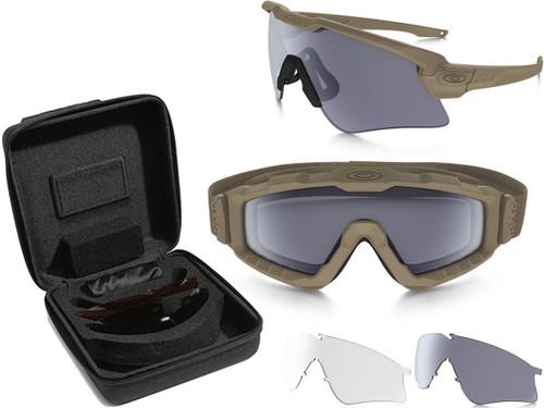 Oakley SI Ballistic M-Frame® Alpha Operator Kit w/ Square Case Array (Color: Terrain Tan w/ Clear, Grey, PRIZM TR45, PRIZM TR222 Lens)