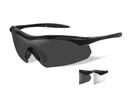 Wiley X WX Vapor Ballistic Eyewear with Interchangeable Lens (Color: Smoke Grey/Clear Lens with Matte Black Frame)
