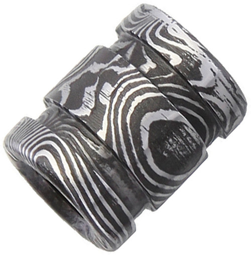 Double Groove Damascus Bead