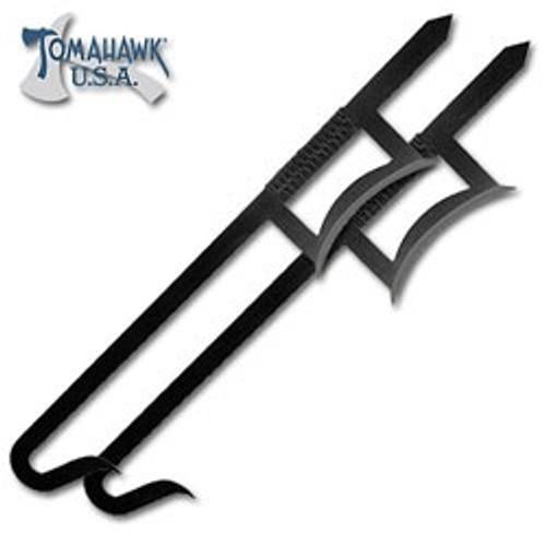 2-Piece Chinese Hook Sword Set - Black