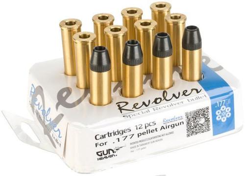 Gun Heaven Full Metal Brass Shells for WinGun / Dan Wesson 4.5mm (.177) Series Co2 Revolvers - Set of 12