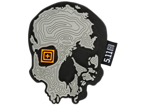 """5.11 Tactical """"Topo Skull"""" PVC Morale Patch (Color: Grey)"""