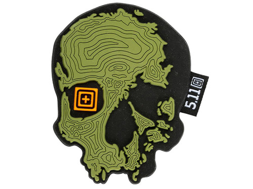 """5.11 Tactical """"Topo Skull"""" PVC Morale Patch (Color: Mosstone)"""