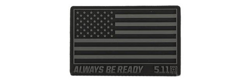 """5.11 Tactical """"US Flag - Always Be Ready"""" PVC Hook and Loop Morale Patch (Color: Black)"""
