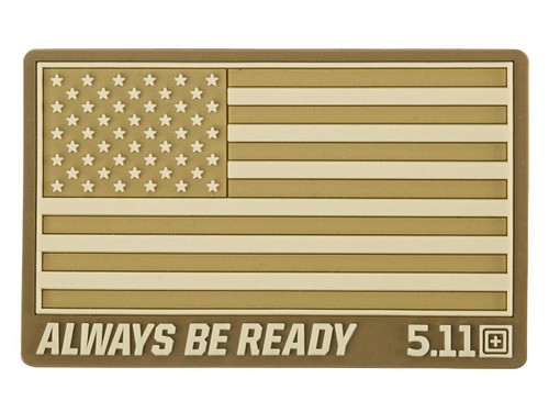 """5.11 Tactical """"US Flag - Always Be Ready"""" PVC Hook and Loop Morale Patch (Color: Coyote)"""
