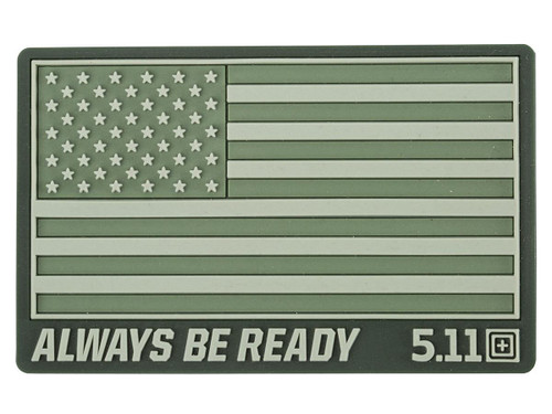 """5.11 Tactical """"US Flag - Always Be Ready"""" PVC Hook and Loop Morale Patch (Color: OD Green)"""