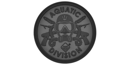 Hazard 4 Aquatic Division Rubber Hook and Loop Patch (Color: Black)