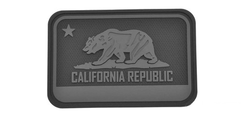 Hazard 4 California Bear Flag Rubber Hook and Loop Patch (Color: Black)