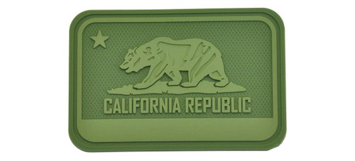 Hazard 4 California Bear Flag Rubber Hook and Loop Patch (Color: OD Green)