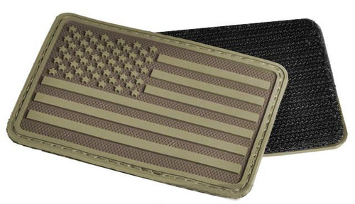 Hazard 4 US Flag Rubber Hook and Loop Patch - Left Arm / Coyote