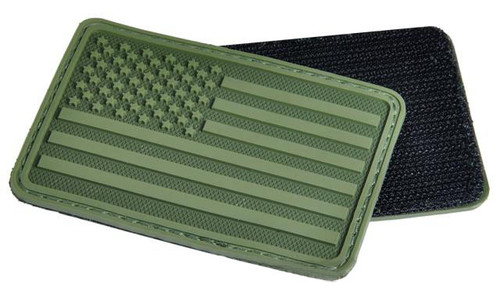 Hazard 4 US Flag Rubber Hook and Loop Patch - Left Arm / OD Green