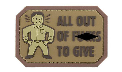 """Mil-Spec Monkey """"All Out of F's"""" PVC Morale Patch - Desert"""