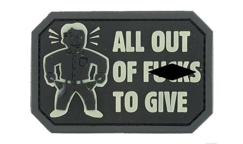 """Mil-Spec Monkey """"All Out of F's"""" PVC Morale Patch - Glow in the Dark"""