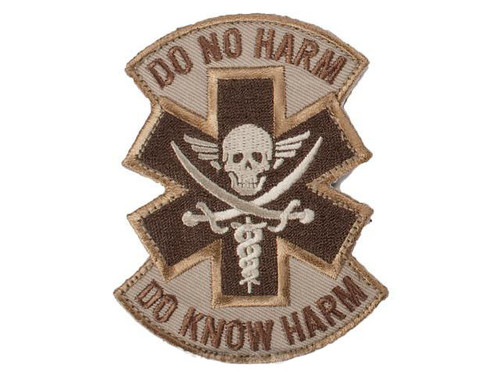 """Mil-Spec Monkey """"Do No Harm - Pirate"""" Hook and Loop Patch - Desert"""
