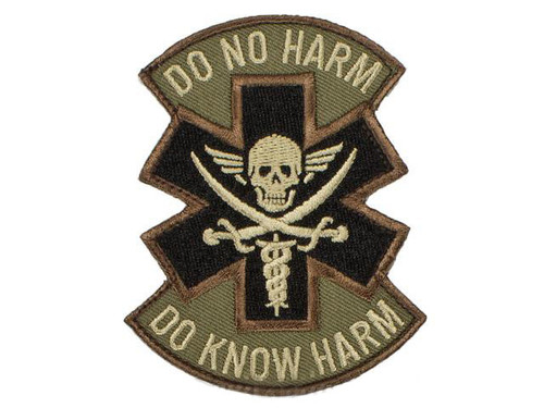 """Mil-Spec Monkey """"Do No Harm - Pirate"""" Hook and Loop Patch - Forest"""
