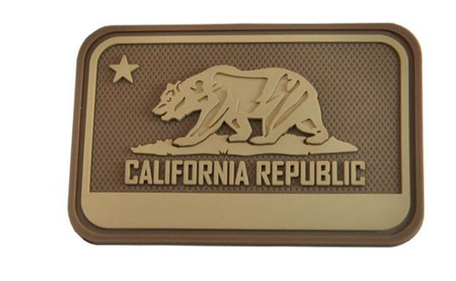Hazard 4 California Bear Flag Rubber Hook and Loop Patch (Color: Coyote)