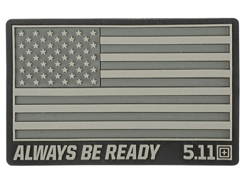 """5.11 Tactical """"US Flag - Always Be Ready"""" PVC Hook and Loop Morale Patch (Color: Double Tap)"""