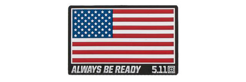 """5.11 Tactical """"US Flag - Always Be Ready"""" PVC Hoo & Loop Morale Patch (Color: Red, White, & Blue)"""