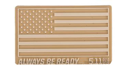 """5.11 Tactical """"US Flag - Always Be Ready"""" PVC Hook and Loop Morale Patch (Color: Sand)"""