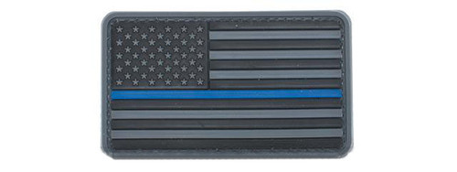 US Flag PVC Hook and Loop Rubber Patch - Regular / Gray & Blue