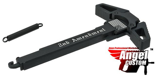 "Angel Custom ""Swift"" Charging Handle for AR-15 M4 M16 Airsoft AEG Rifles (Logo: Black / 2nd Amendment)"