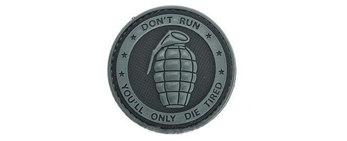 """Matrix PVC Hook and Loop IFF Patch - """"Don't Run, You'll Only Die Tired"""" Grey"""