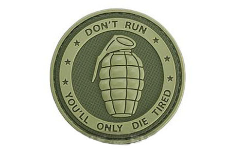 """Matrix PVC Hook and Loop IFF Patch - """"Don't Run, You'll Only Die Tired"""" OD Green"""