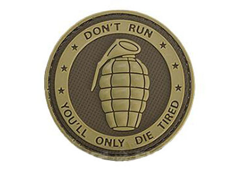 """Matrix PVC Hook and Loop IFF Patch - """"Don't Run, You'll Only Die Tired"""" Tan"""