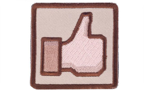 """Matrix """"Thumbs Up"""" 2"""" IFF Hook and Loop Morale Patch - Tan"""