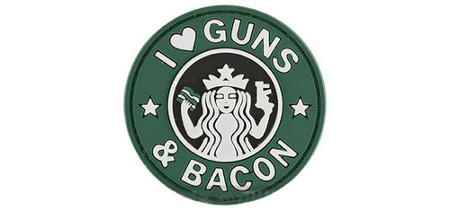 "Rubberized PVC ""I Love Guns & Bacon"" Tactical Patch - Green"