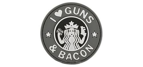 "Rubberized PVC ""I Love Guns & Bacon"" Tactical Patch - Grey"