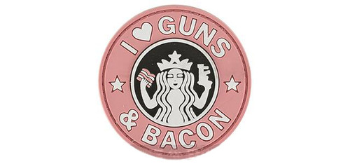 """Rubberized PVC """"I Love Guns & Bacon"""" Tactical Patch - Pink"""