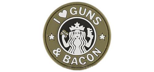 "Rubberized PVC ""I Love Guns & Bacon"" Tactical Patch - Tan"