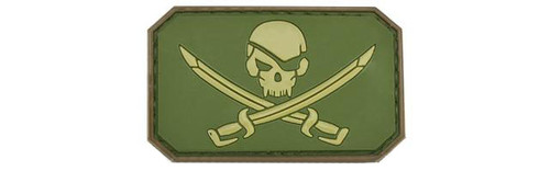 Skull and Swords PVC IFF Hook and Loop Patch - Tan / OD