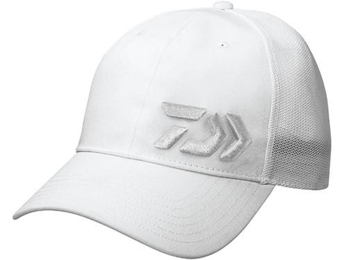 Daiwa D-VEC 3D Embroidered Logo Mesh Trucker Cap - White