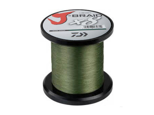 Daiwa J-Braid8-Strand Woven Round Braid Line - 100 Pounds / Dark Green / 550YDS / 500M