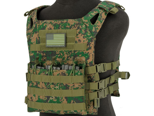 Matrix Level-1 Plate Carrier with Integrated Magazine Pouches (Color: Digital Woodland)