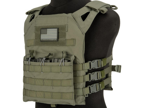 Matrix Level-1 Plate Carrier with Integrated Magazine Pouches (Color: Ranger Green)