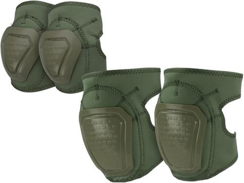 Matrix Bravo Advanced Neoprene Tactical Knee and Elbow Pad Set (Color: OD Green)