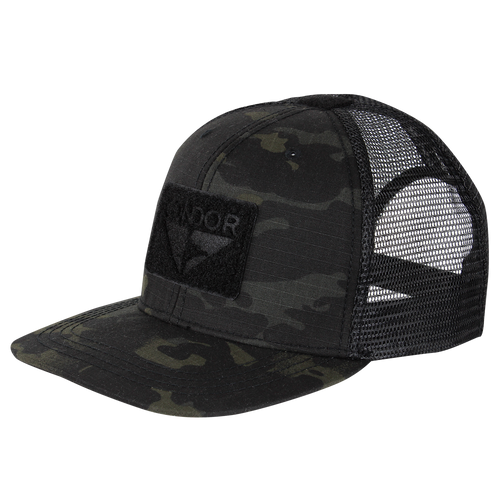 Condor Flat Bill Trucker Hat with MultiCam Black
