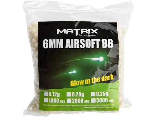 Matrix Match Grade 6mm Glow-in-the-Dark Airsoft Tracer BB (Model: 0.25g Green 2000rds)