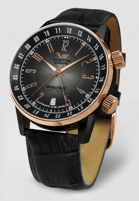Vostok Europe Gaz Limo Automatic Leather Strap - Black/Rose Gold