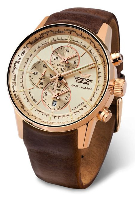 Vostok Europe Gaz Limo Tritium World Timer - Cream/Gold