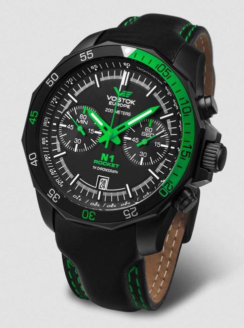 Vostok Europe N1 Rocket Chronograph Leather Strap - Black/Green