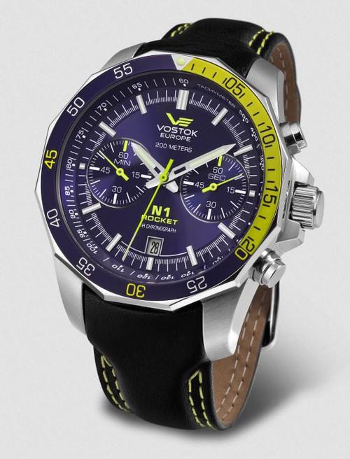 Vostok Europe N1 Rocket Chronograph Leather Strap - Blue